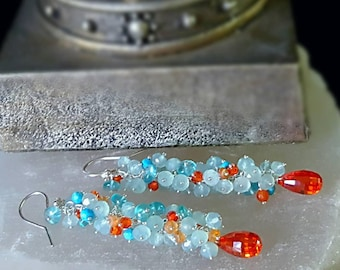 New! Colorful Orange Zirconia with Aqua Chalcedony Apatite Turquoise Long Gemstone Cluster Earrings Gift for Her