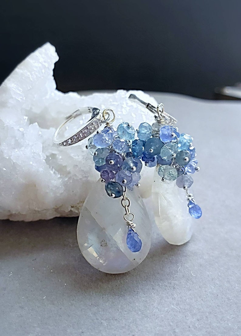 Blue Flash Moonstone with Shades of Blue Sapphires on Sterling image 0