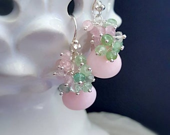 New! Pink Peruvian Opal with Pastel Watermelon Tourmaline Cluster Earrings Leverbacks Bridal Jewelry Gift for Her