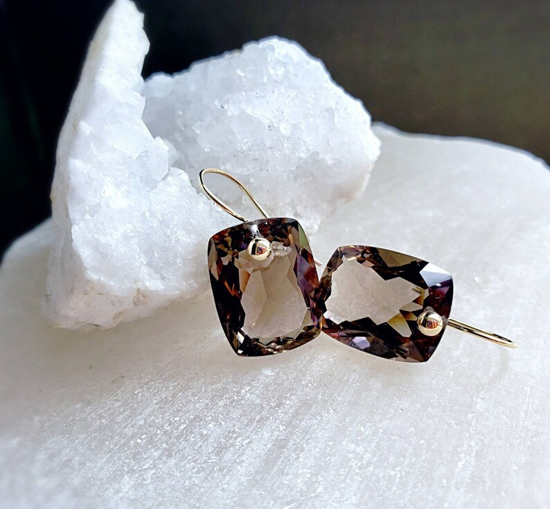 Smoky Quartz 14k Solid Gold Simple Drop Earrings Minimal image 0
