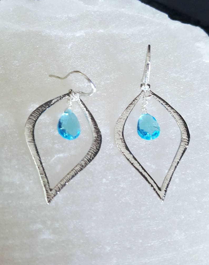 Swiss Blue Topaz Bohemian Chic Silver Textured Shapely Hoop image 0