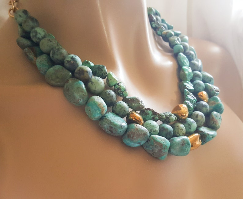 Multistrand Natural Turquoise Nugget and Pyrite Statement image 0
