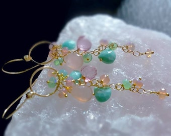 New! Sleeping Beauty Turquoise with Pink Welo Opals and Pink Topaz on Gold Fill Long Dangle Earrings Bridal Jewelry Gift For Her