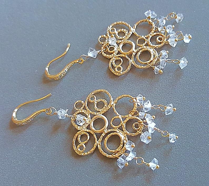 Herkimer Diamond Chandelier Earrings Gold Bubble Earrings image 0