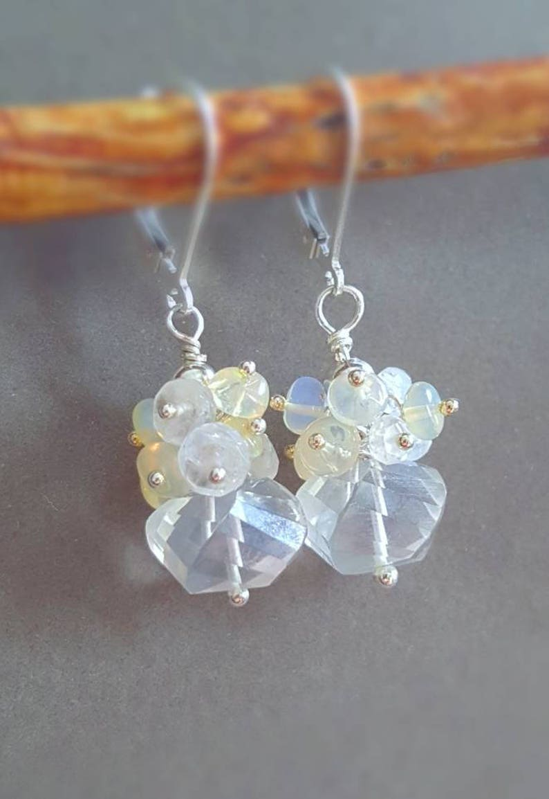 Petite Bridal Earrings Crystal Quarts with Moonstone and image 0