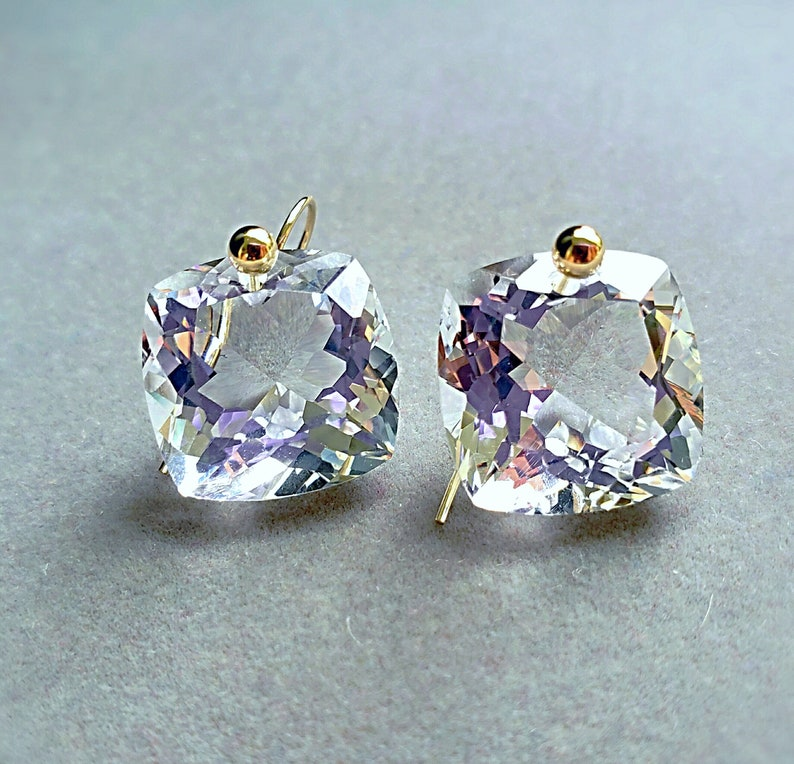 14k Solid Gold Natural Crystal Quartz Simple Drop Earrings image 0