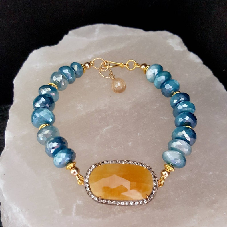 Natural Sapphire White Topaz Pave Stack Stretch Bracelet and image 0