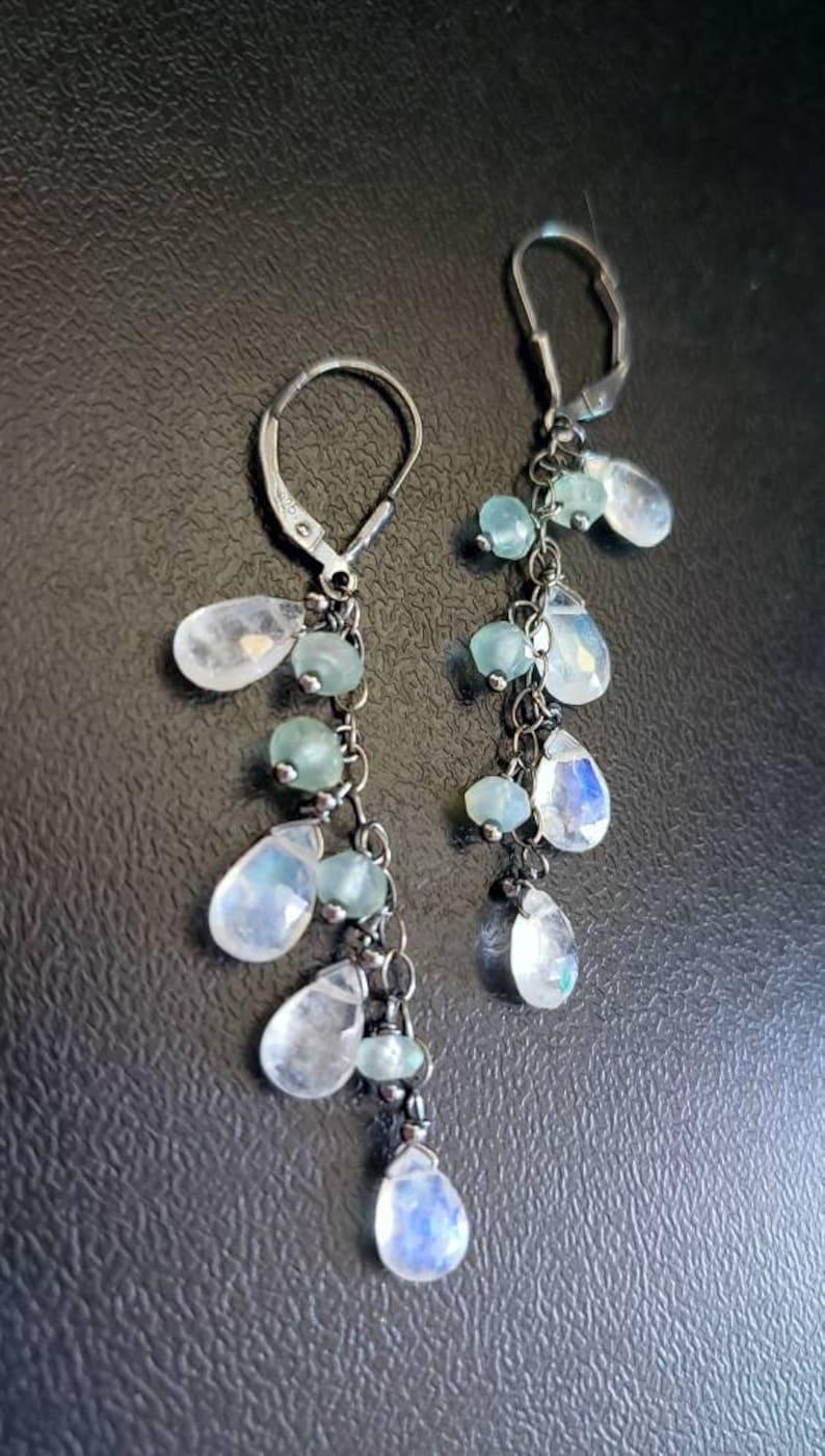 Moonstone and Aquamarine Long Dangle Earrings on Oxidized image 0