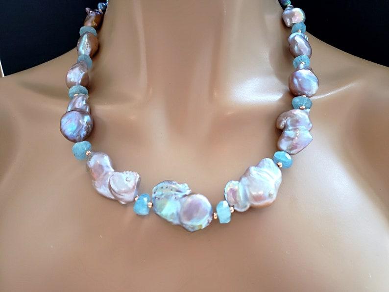 Metallic Baroque Pearls with Natural  Aquamarine Statement image 0