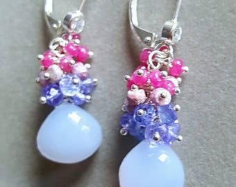 Natural Chalcedony with Tanzanite and Rubies Gemstone Cluster Earrings on Sterling Silver Leverbacks Gift For Her