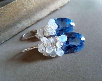 London Blue Topaz with Blue Flash Moonstone Gemstone Cluster Earrings Something Blue Bridal Earrings Gift For Her