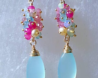 Aqua Chalcedony Drops with Ethiopian Opal Pink Tourmaline Pink Spinel Beige Freshwater Pearls and Aquamarine Gemstone Cluster Earrings