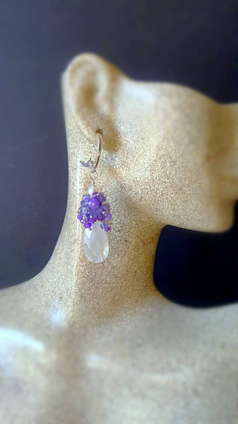 Moonstone with Lavender Opals Tanzanite and Peridot on Sterling Silver Leverbacks Gift For Her
