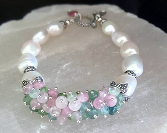 New! Pastel Watermelon Tourmaline and Freshwater Pearl with Marcasite  Gift for Her