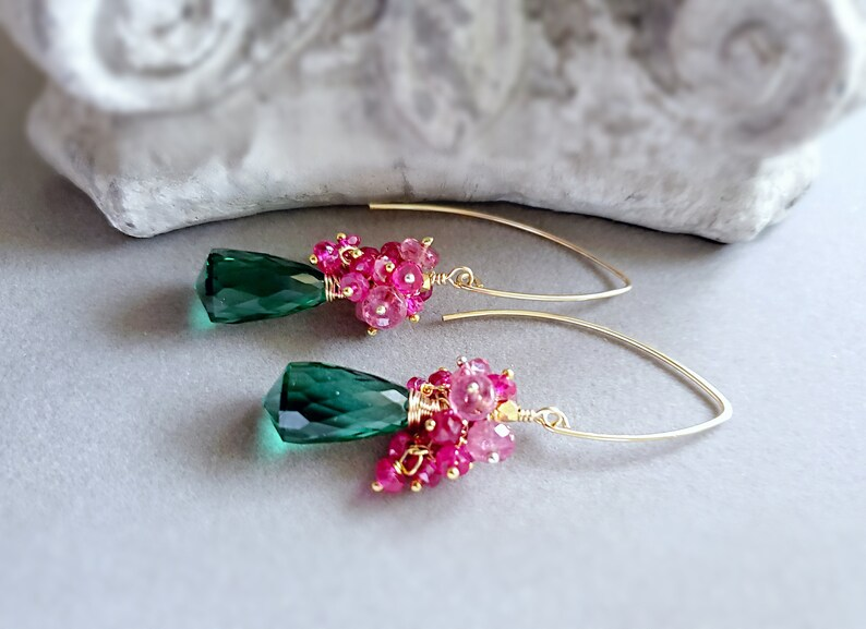 Green Amethyst Pink Sapphires and Pink Spinel Gemstone Earring image 0