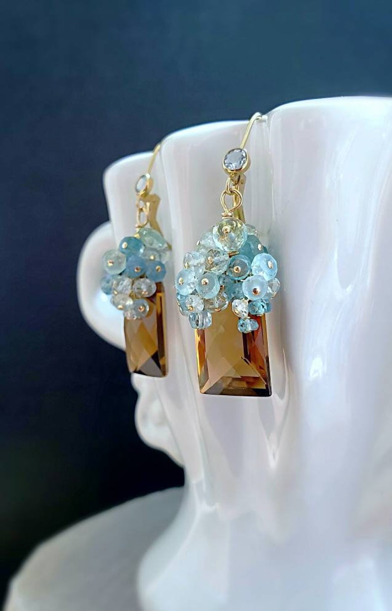 Whiskey Quartz with Aquamarine On Gold Filled Leverbacks Gift image 0