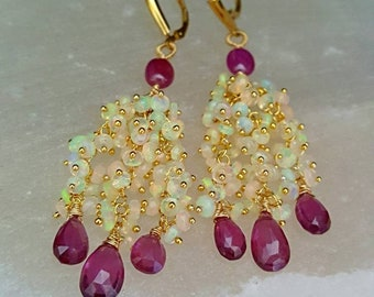 New! Ethiopian Opals and Pink and Purple Sapphire Waterfall Cluster Earrings Chandelie Earrings Luxe Gift for Mom