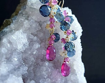 London Blue Quartz with Ethiopian Opals and Pink Sapphires on Gold Filled Earwires Gift for Her