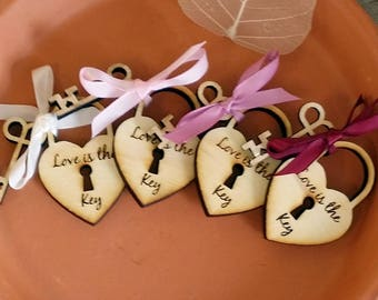 200 Heart and Skeleton Key Wedding Favors Love Lock Favors