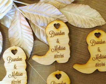 75 Wood Cowboy Boots Wedding Favors Personalized table decor