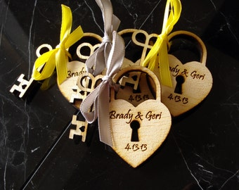 190 Heart and Skeleton Key Wedding Favors