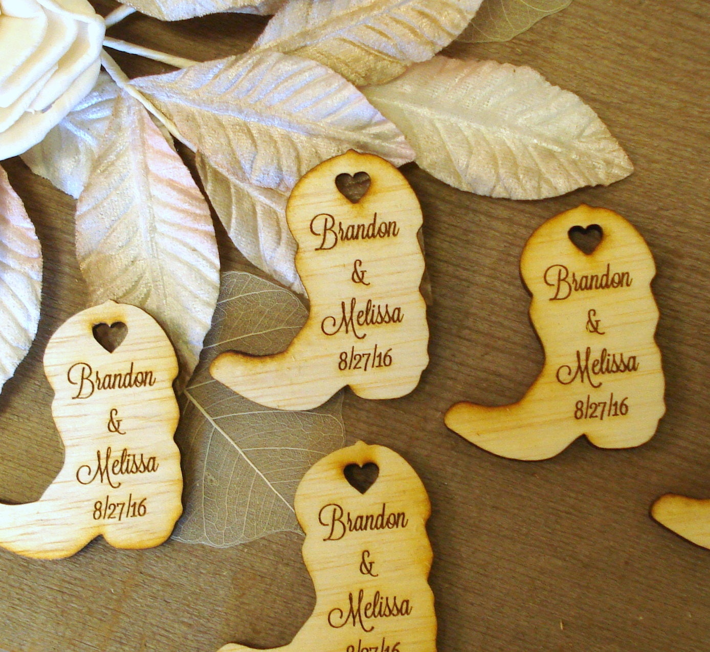 Cowboy Wedding Gifts: 50 Wood Cowboy Boots Wedding Favors Personalized