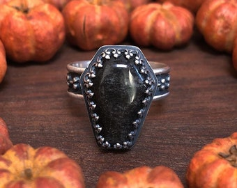 Size 7.75 - Cemetery Ring Silver Sheen Obsidian Coffin Cabochon Graveyard Bone Ring in Sterling Silver
