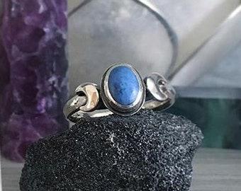 Made To Order - MariLuna Denim Lapis Lazuli crescent half moon triple moon ring in Sterling Silver - luna lune