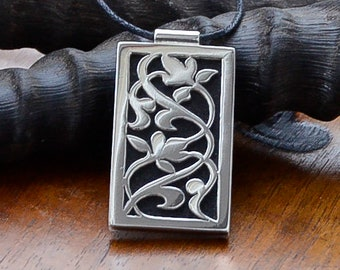 Made to Order - Floral leafy vine botanical Boho Art Nouveau Arabic style pendant in sterling silver and African Black Wood on black cord