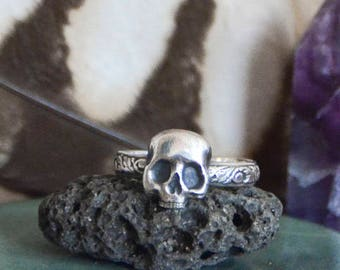 Made To Order - Fancy Skull Stack Ring in Sterling Silver