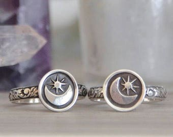 Made To Order - Moon & Stars Stack Ring in Sterling Silver
