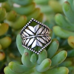 Made To Order - Fern Leaf Botanical Garden Pattern Beaded Boho Gypsy Indie Indian Style Wide Chevron Saddle Ring in Sterling Silver