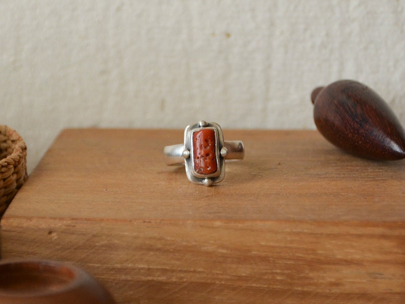 Antique Natural Coral Bead Bezel Set Matte Ring with image 0