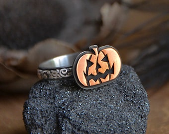 Made To Order - Hocus Pocus Stamped Jack-O-Lantern Pumpkin Stack Ring for Halloween in Sterling Silver and Copper