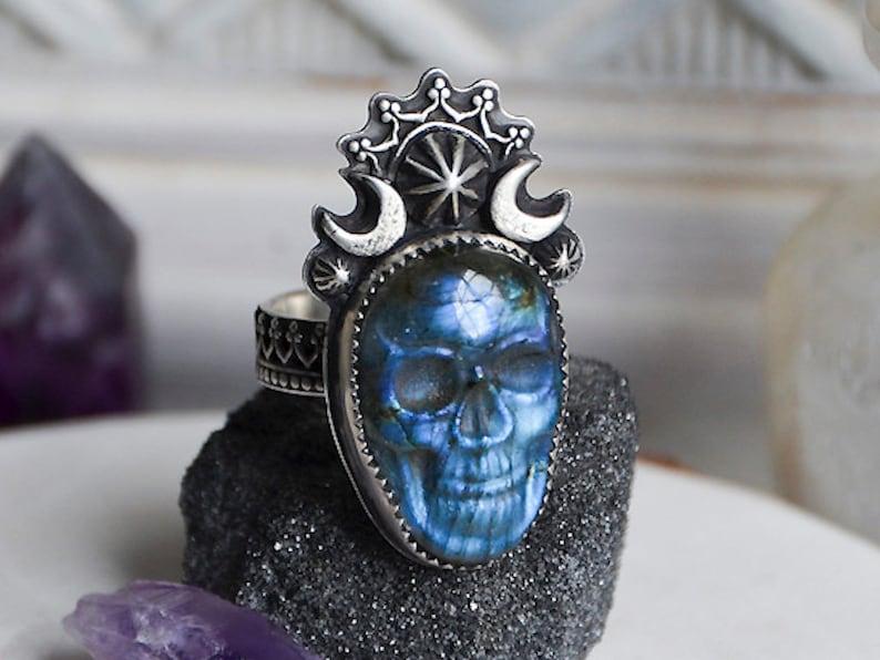 Made to Order  Night Goddess Carved Labradorite Sugar Skull image 0