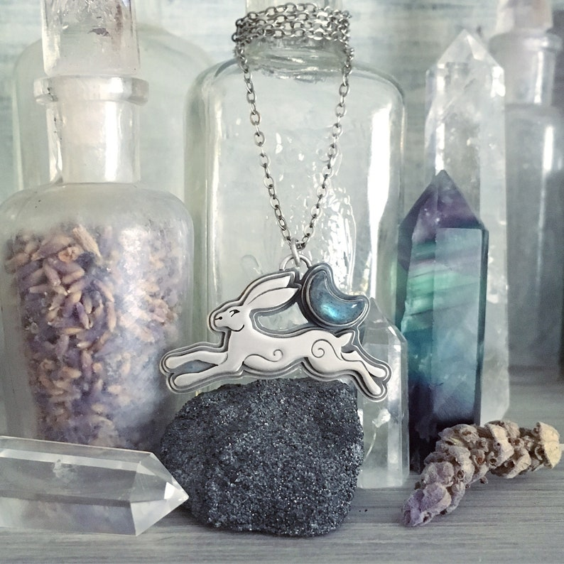 MoonChild in Sterling Silver & labradorite crescent moon  image 0
