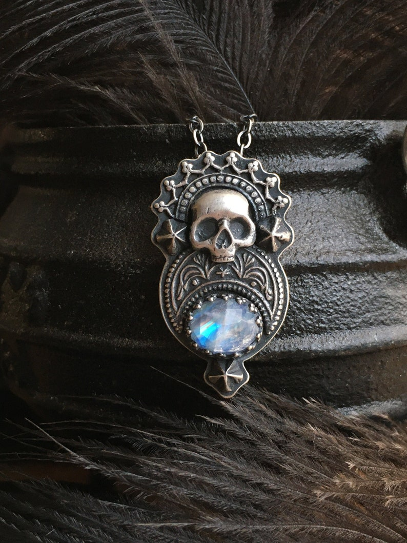 Monarch Relic crowned skull with moonstone pendant in sterling image 0