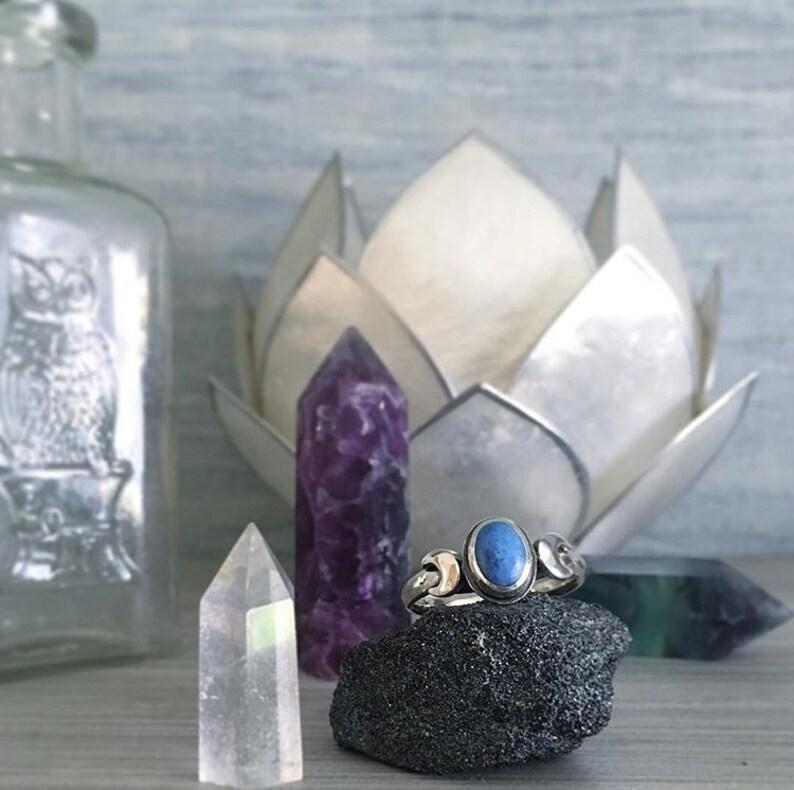 Made To Order  MariLuna Denim Lapis Lazuli crescent half moon image 0