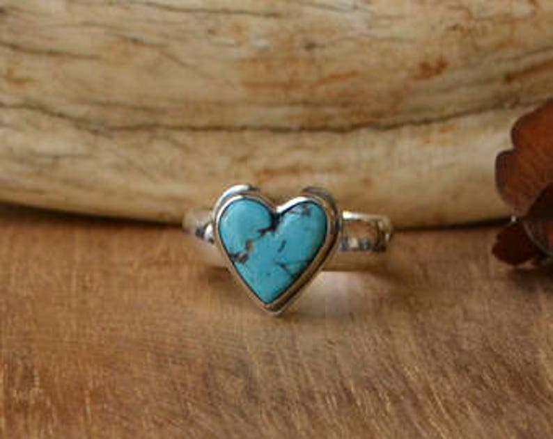 Made To Order  Turquoise Heart Cabochon Ring in Sterling image 0