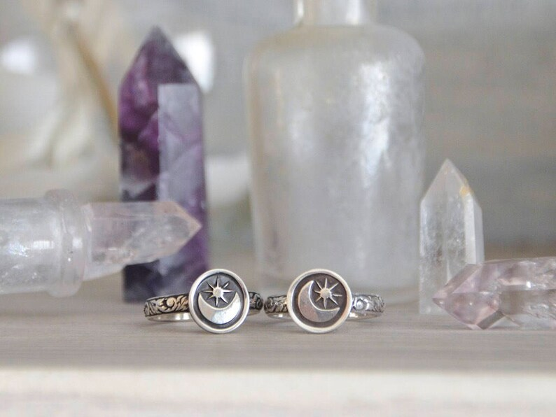 Made To Order  Moon & Stars Stack Ring in Sterling Silver image 1