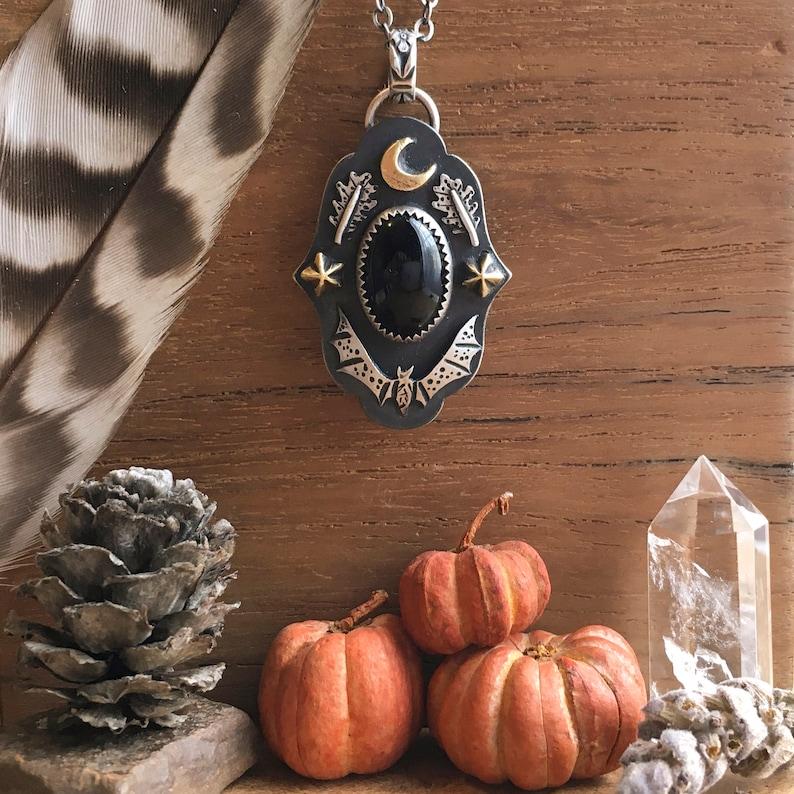 Autumn Harvest Pendant with Oval Black Onyx Spooky Night Moon image 0