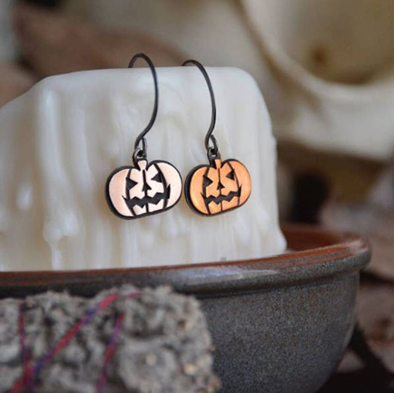 Hocus Pocus Stamped Jack-O-Lantern Pumpkin Earrings for image 0