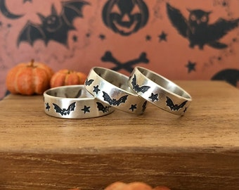 Made To Order - Starry Bat Stamped Flying Bats Stars Stack Ring for Halloween in Sterling Silver