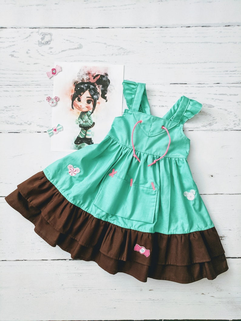 Girls Vanellope Twirl Dress Vanellope Von Schweetz inspired image 0