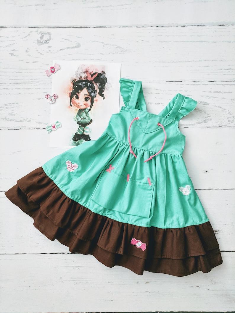 Girls Vanellope Twirl Dress Vanellope Von Schweetz inspired image 0