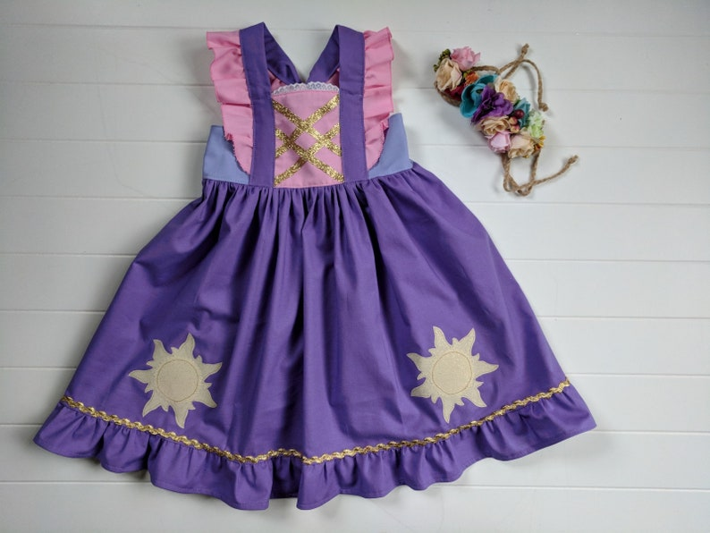 Girls Rapunzel Golden Sun Twirl Dress Everyday Princess image 0