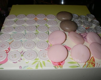 44 assorted vintage buttons pinks to greys