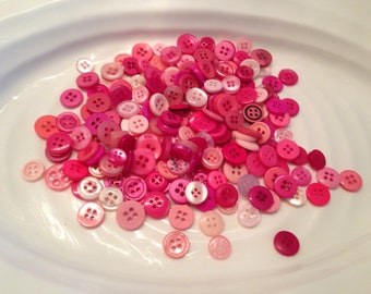 Four Hole Buttons - 200 assorted pink 4 hole buttons
