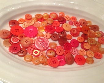 Four Hole Buttons - 100 assorted orange 4 hole buttons