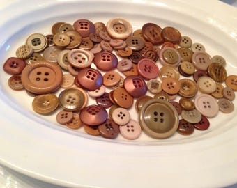 Four Hole Buttons - 100 assorted brown 4 hole buttons